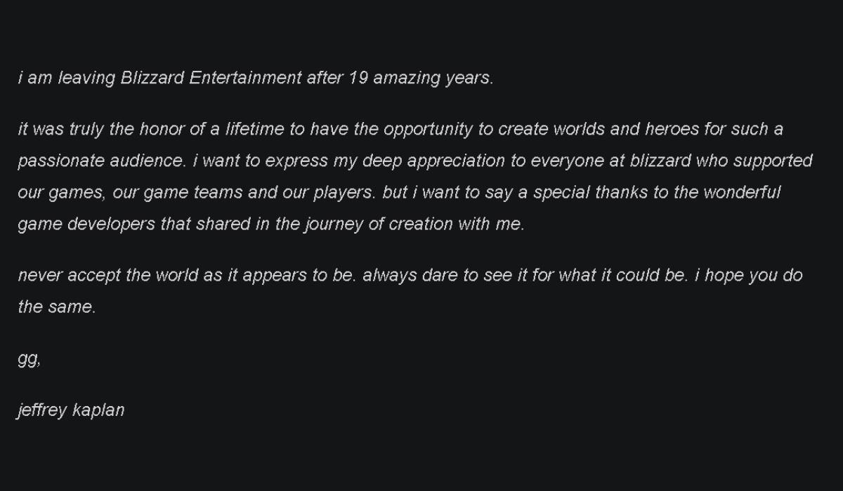 Jeff Kaplan Blizzard announcement