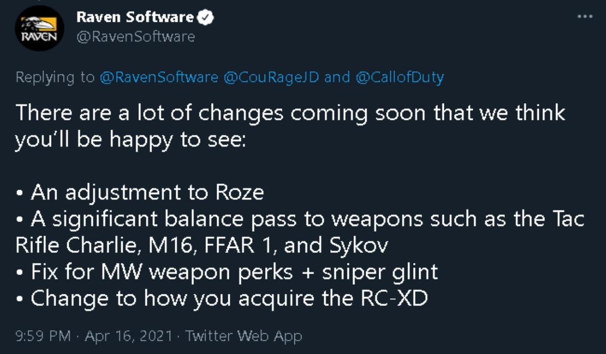 Warzone Roze skin nerf tweet source