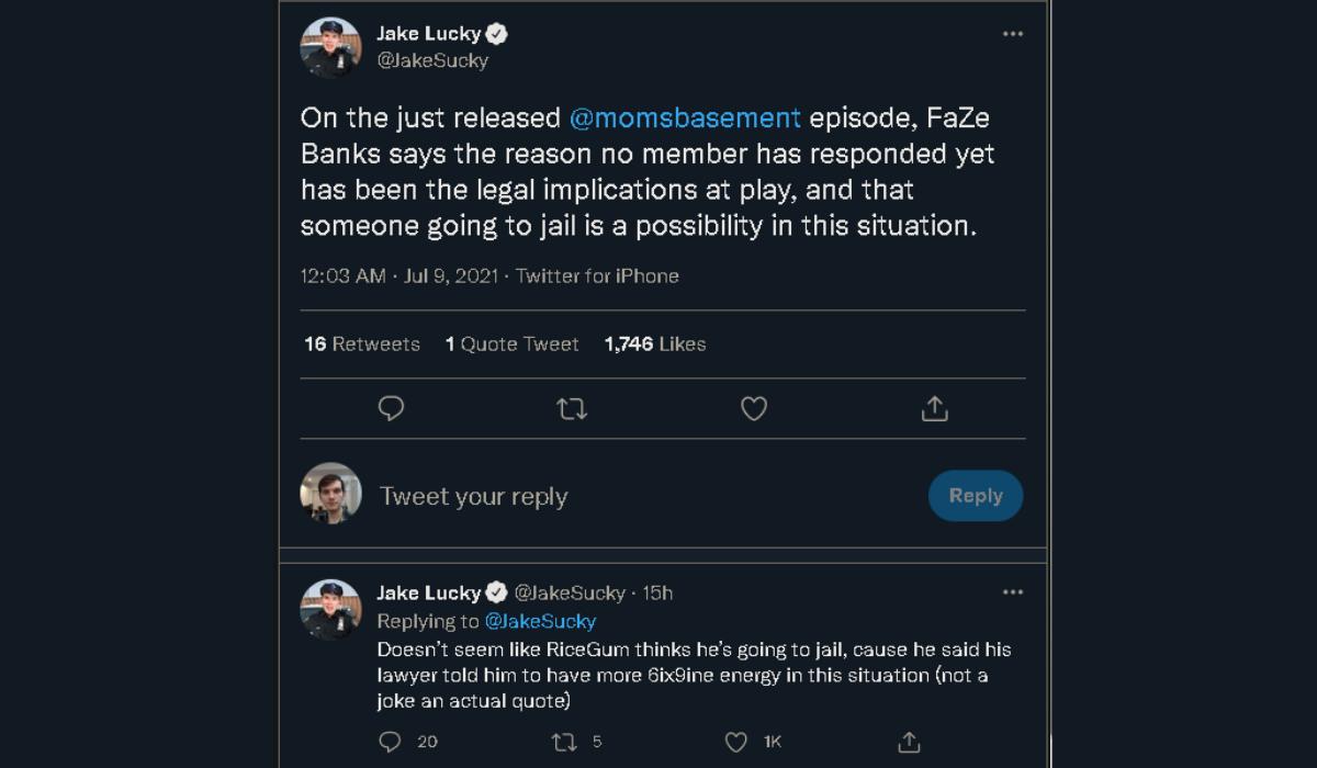 FaZe crypto scam jail time tweet