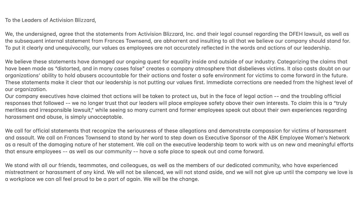 activision blizzard full letter 800 employees
