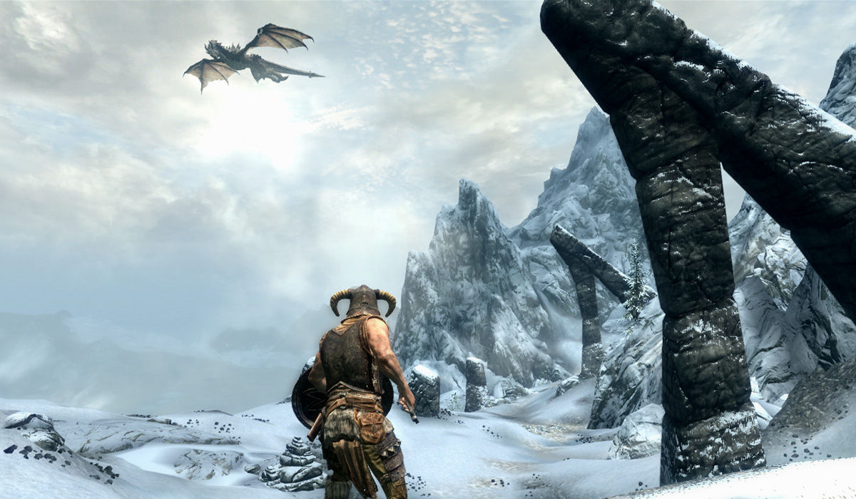elder scrolls 6 skyrim promo dragon ice biome
